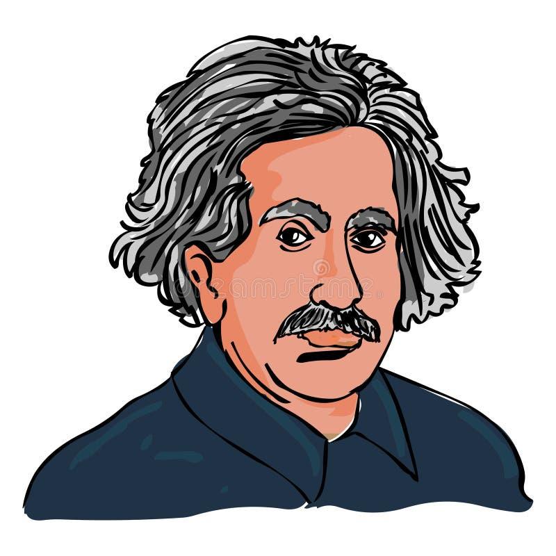 Albert Einstein-Vektor Einstein-Porträtzeichnung lizenzfreie abbildung
