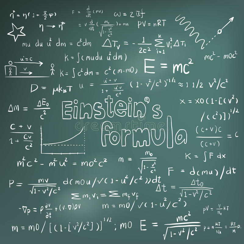Albert Einstein-wetstheorie en equa van de fysica wiskundige formule stock illustratie