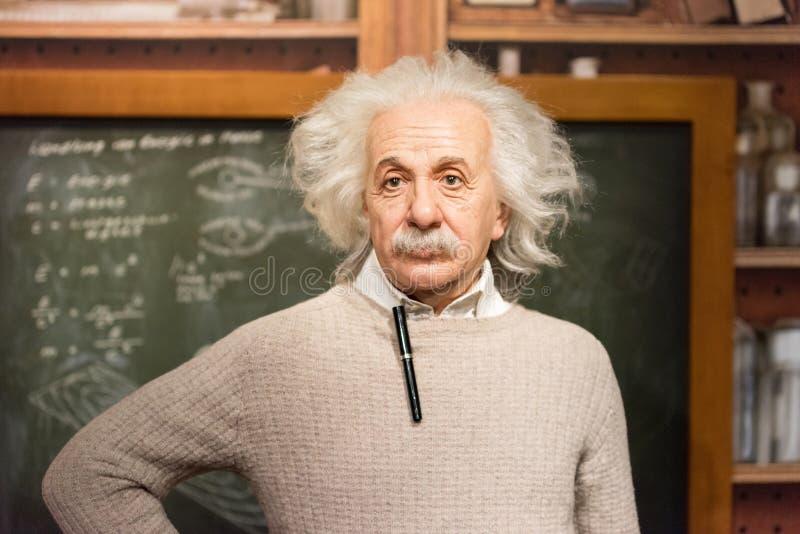 Albert Einstein wosku postać przy Madame Tussauds muzeum w Istanbuł obraz stock