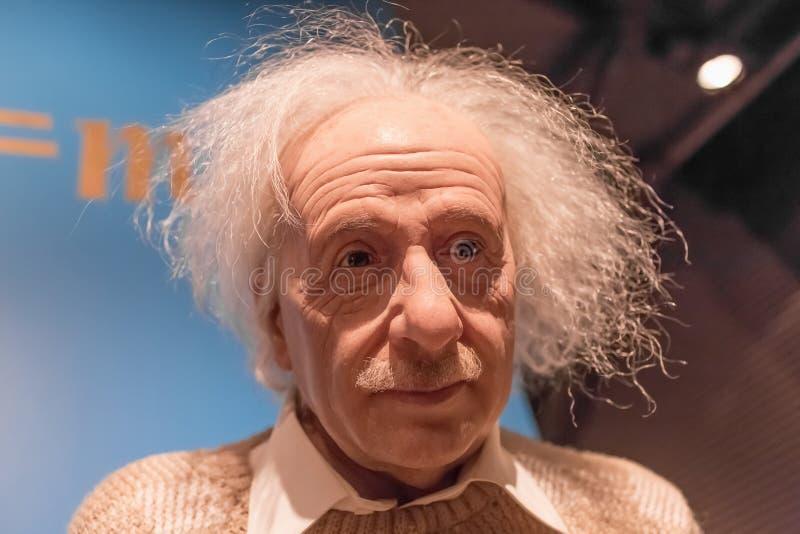Albert Einstein wosku statua w Madame Tussauds muzeum w Amsterdam fotografia stock