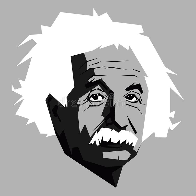 Albert einstein in zwart-wit stock illustratie
