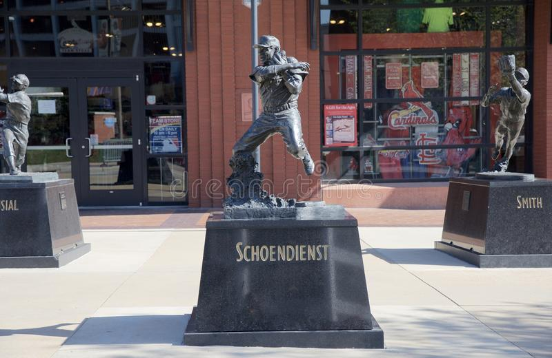 Albert Fred Schoendienst statua, śródmieścia St Louis zdjęcie stock