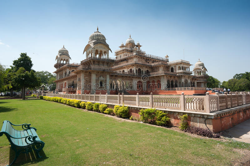 Albert Hall, Jaipur, India. WS: The Albert Hall in central Jaipur India. Built to accommodate Prince Albert on a State Visit. Elaborate architecture stock images