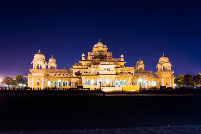 Albert Hall Jaipur at night stock photo