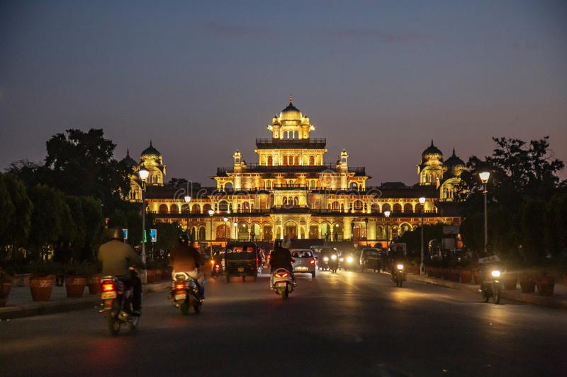 Albert Hall museum city palace at night in Jaipur stock images