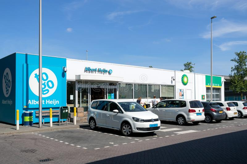 Albert Heijn to go convenience store at BP gas station in Amsterdam, The Netherlands stock photos