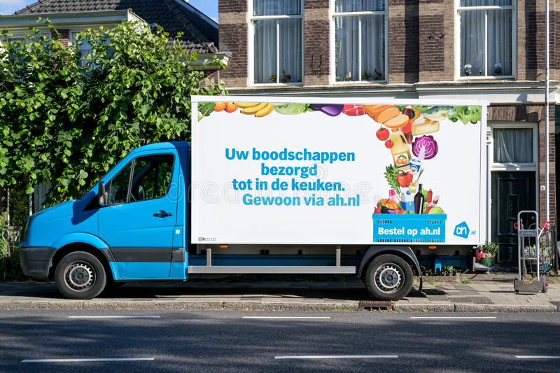 Albert Heijn delivery van royalty free stock photography