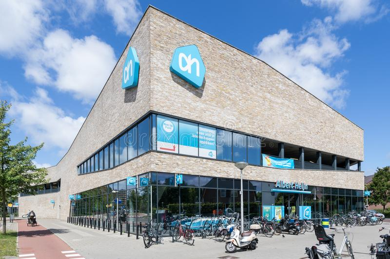 Albert Heijn supermarket in Delft, Netherlands stock photos
