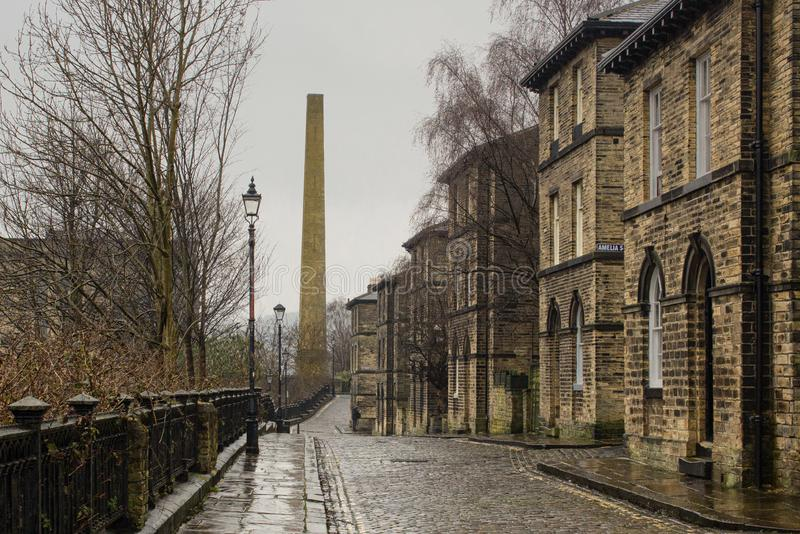 The cobbled streets of Saltaire stock photos