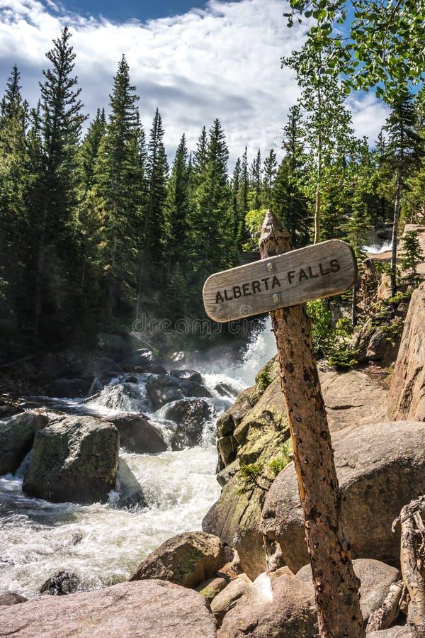 Alberta Falls Sign stockbild