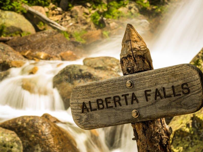 Alberta Falls Wooden Sign imagenes de archivo