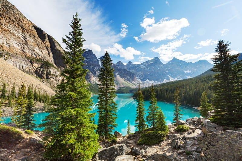 alberta jezioro Banff Canada lokalizować Louise moreny krajowego pobliski parka obrazy royalty free