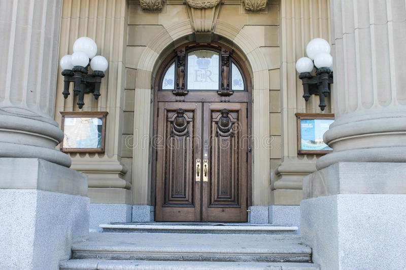 Front of Alberta legislative building, Edmonton, Canada. Stairs and front entrance to Alberta legislative building in Edmonton, Canada royalty free stock images
