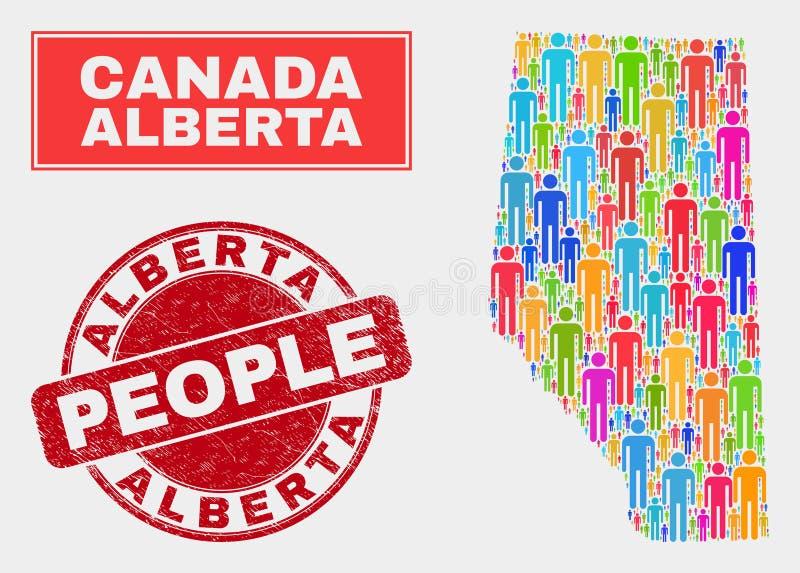 Alberta Province Map Population Demographics et phoque grunge illustration libre de droits