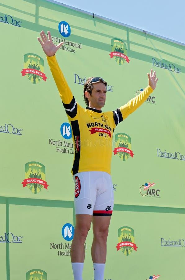 Alberti Wins Yellow Jersey em Stillwater imagens de stock royalty free
