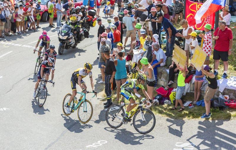 Alberto Contador em Colo du Glandon - Tour de France 2015 fotos de stock
