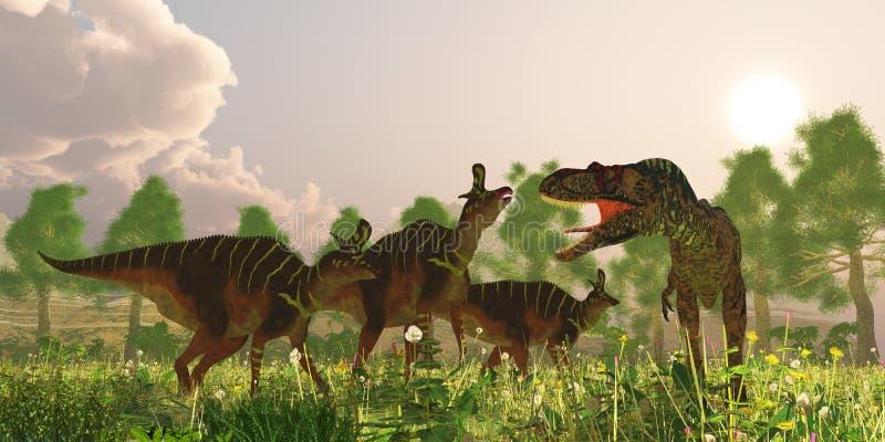 Albertosaurus и динозавры Lambeosaurus бесплатная иллюстрация