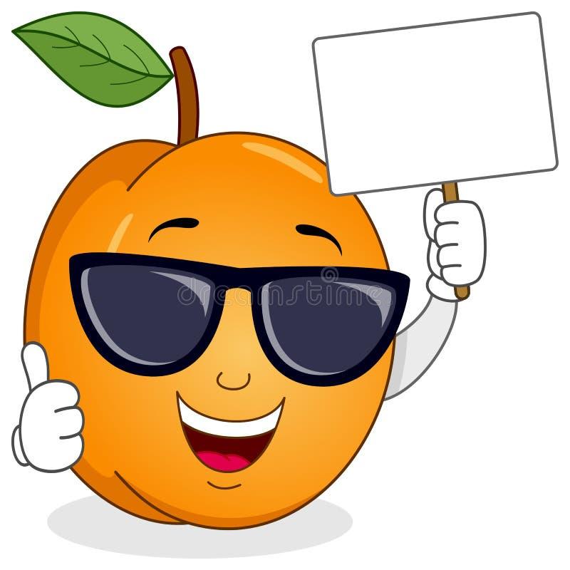 Albicocca con gli occhiali da sole e l'insegna in bianco illustrazione vettoriale