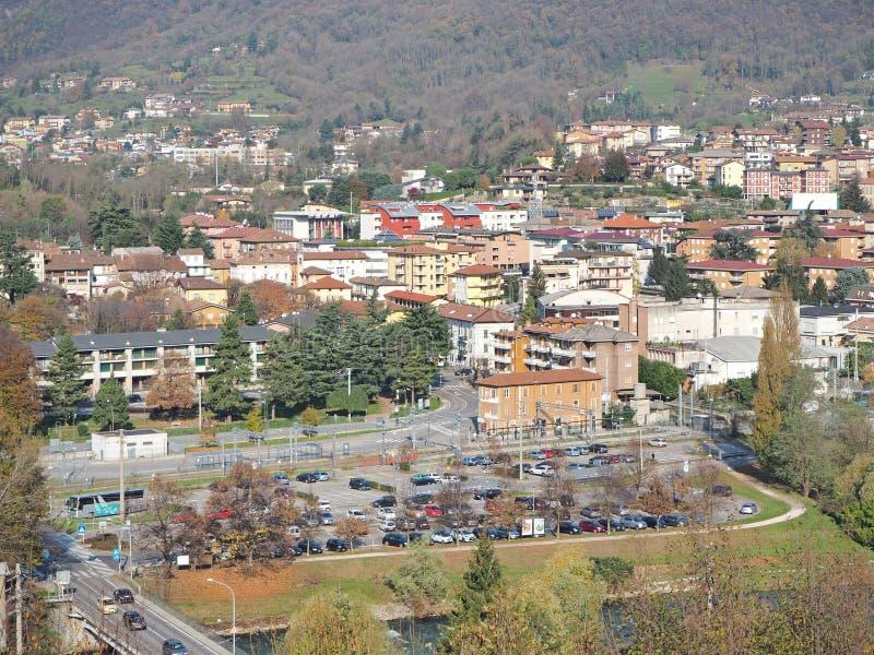 Albino, Bergamo, Italy. Aerial landscape view of the town stock photos
