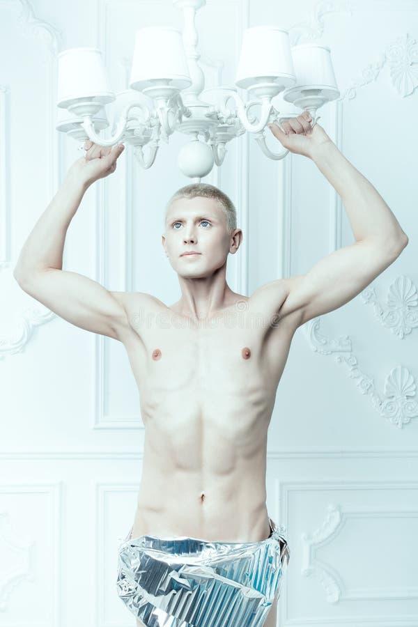 Albino maschio con una bella figura fotografie stock