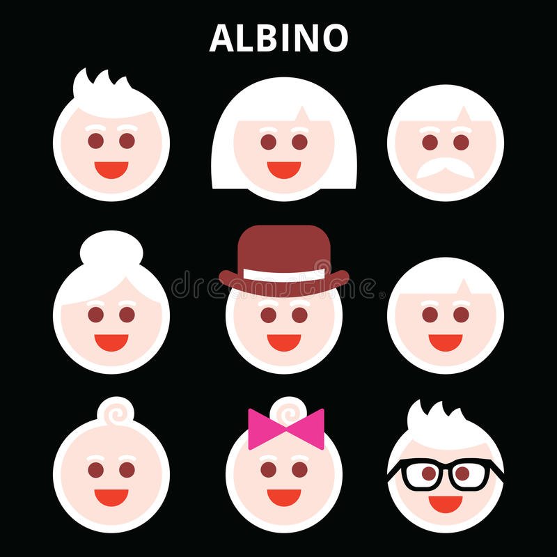 Albino people, Albinism icons set. Albino man, woman, baby boy and girl icons set - International Albinism Awareness Day 13th of June stock illustration