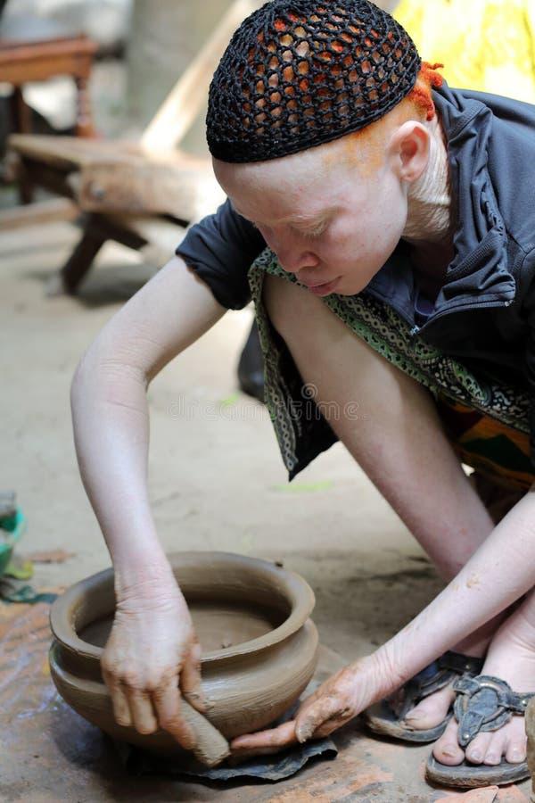 Albino woman in Ukerewe, Tanzania royalty free stock photo