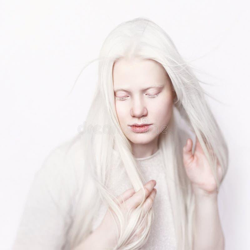 Albinos kobieta z biały skóry i białego długie włosy Fotografii twarz na lekkim tle Portret głowa Blondynki Dziewczyna obraz royalty free