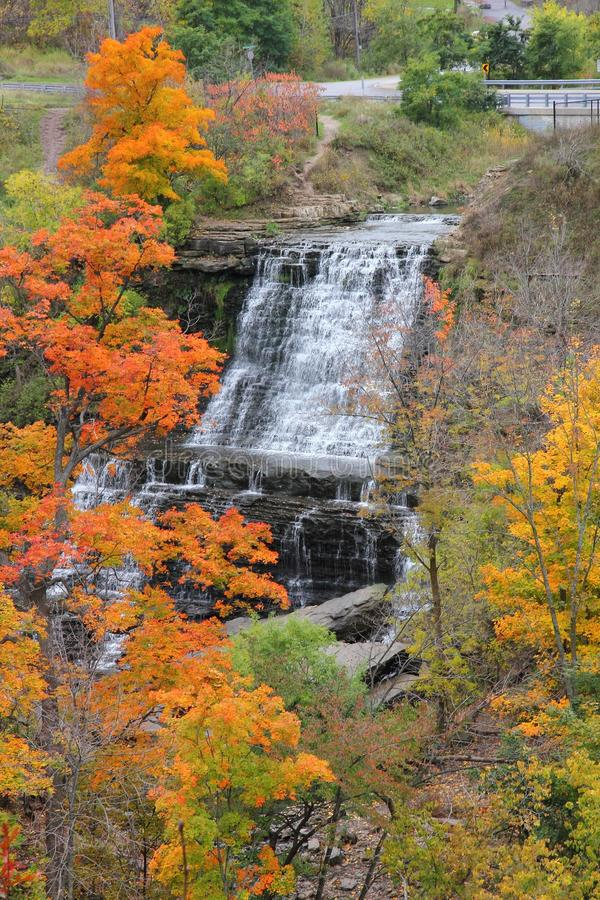 Albion Falls in Autumn. This scenic natural flow falls down the Hamilton Ontario escarpment. It has many ledges and is surrounded by autumn's colourful foliage stock photo