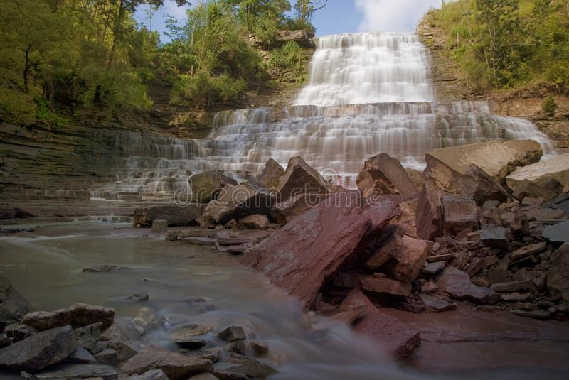 Albion falls, Hamilton Ontario Canada. Albion Falls is a 19 m classical/cascade waterfall flowing down the Niagara Escarpment in Red Hill Valley, in Hamilton royalty free stock image