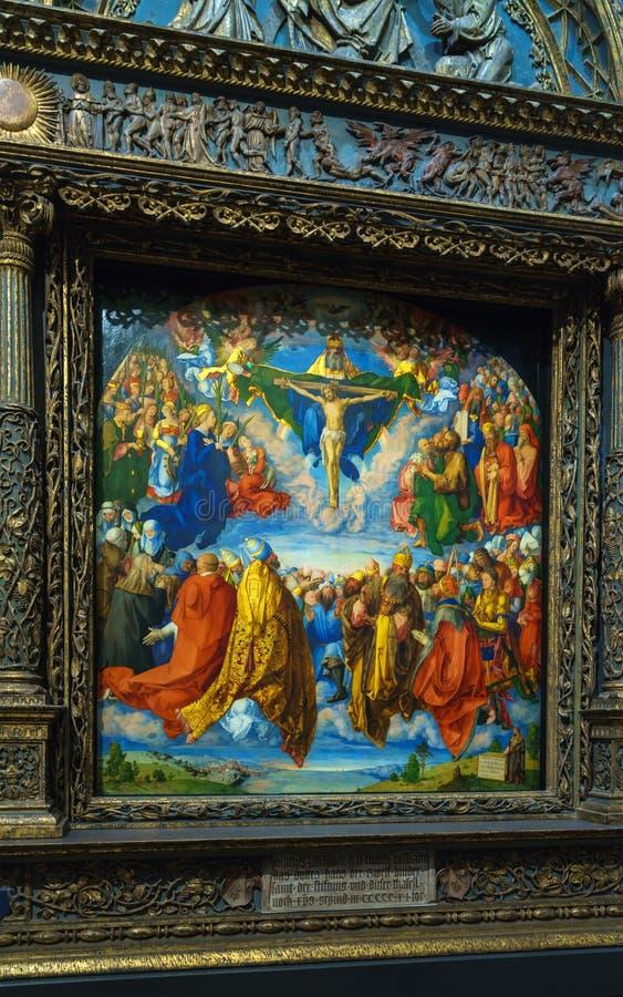Albrecht Durer Adoration da trindade 1509 em Kunsthistorisc imagem de stock royalty free