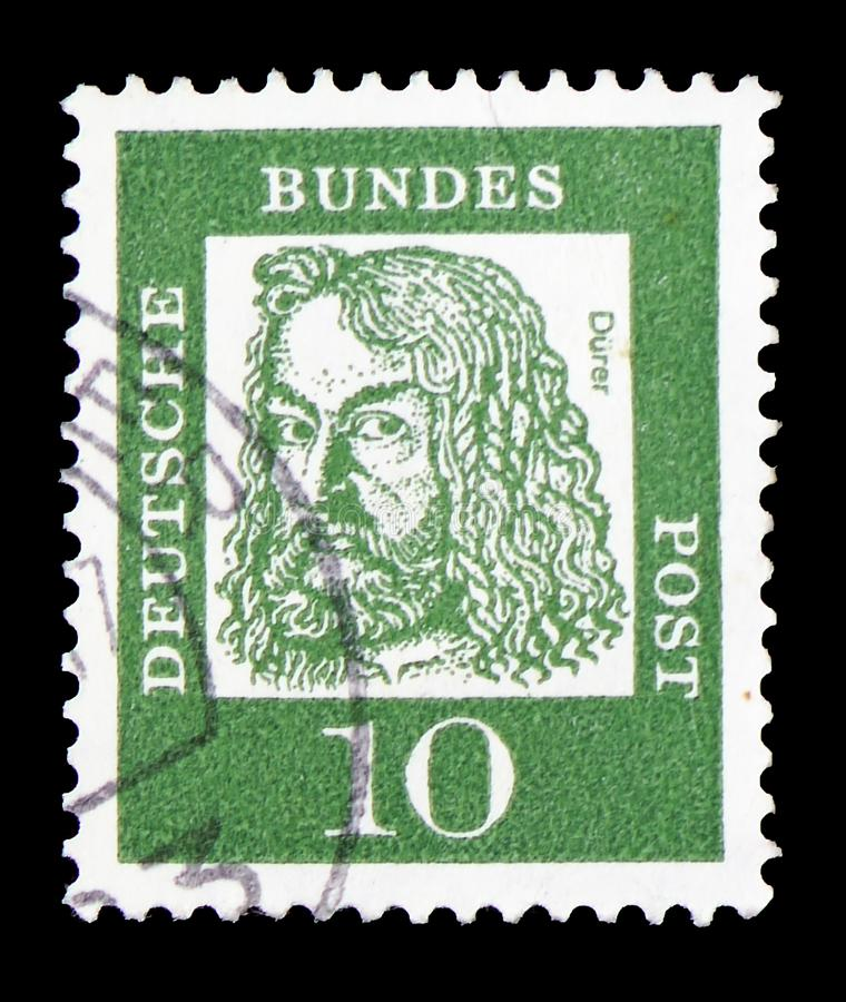 Albrecht Durer (1471-1528), painter and graphic artist, Famous Germans serie, circa 1961. MOSCOW, RUSSIA - FEBRUARY 9, 2019: A stamp printed in Germany stock photos
