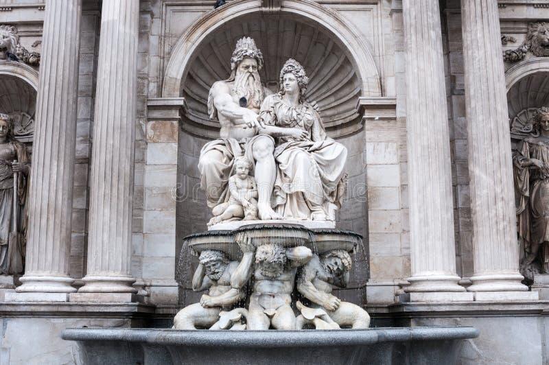 Albrecht Fountain Danubius e il Vindobona a Vienna, Austria immagine stock libera da diritti