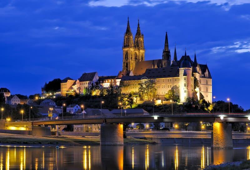 Albrechtsburg in Meissen alla notte immagine stock libera da diritti