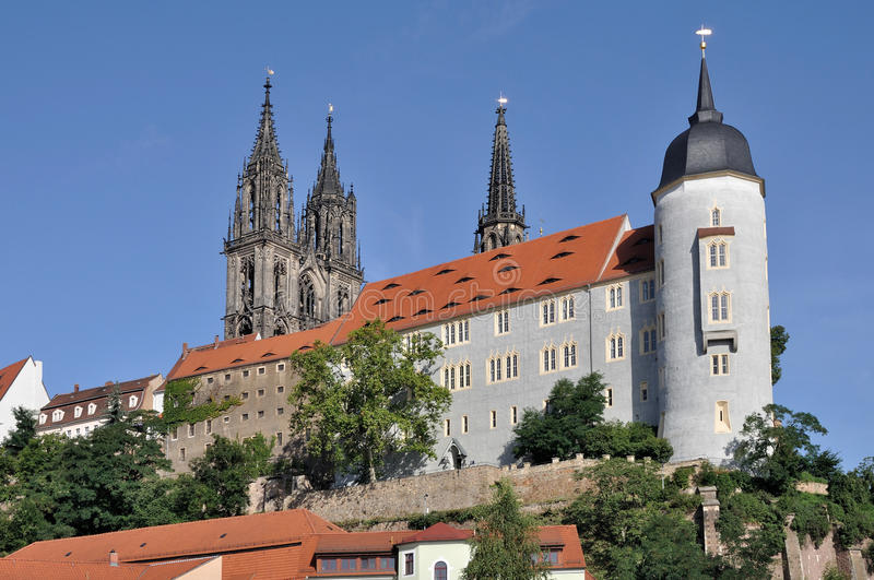 Albrechtsburg view, meissen. View of the city center with the big baroque palace and the cathedral stock photo