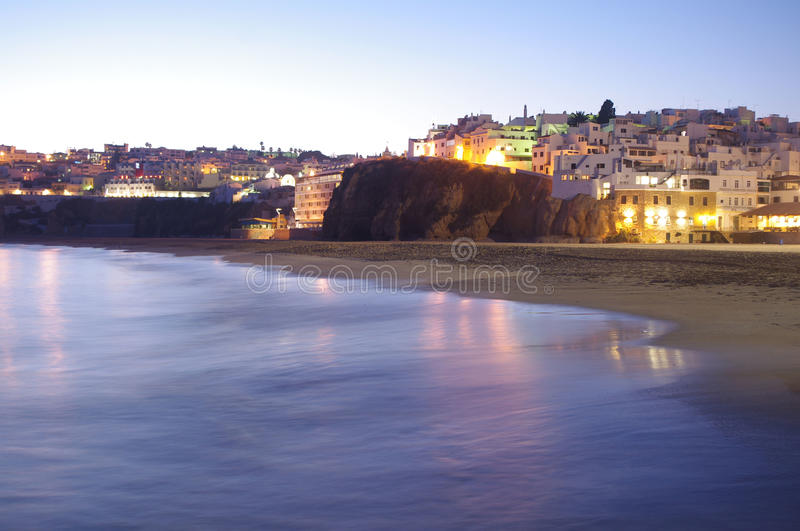 Albufeira at sunset. Old town Albufeira at nightfall royalty free stock image