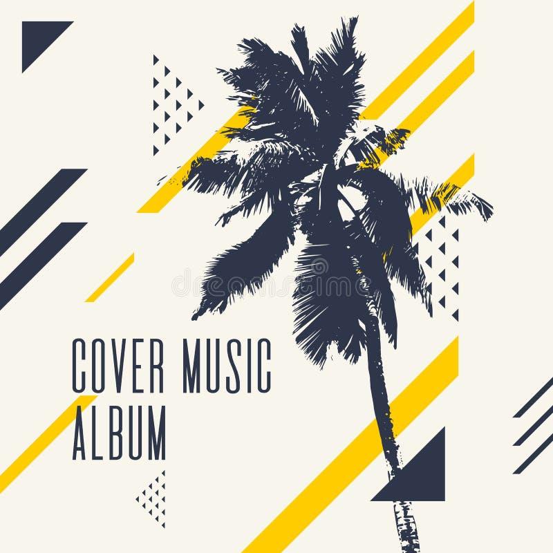 Album de musique de couverture Affiche moderne avec le palmier illustration de vecteur