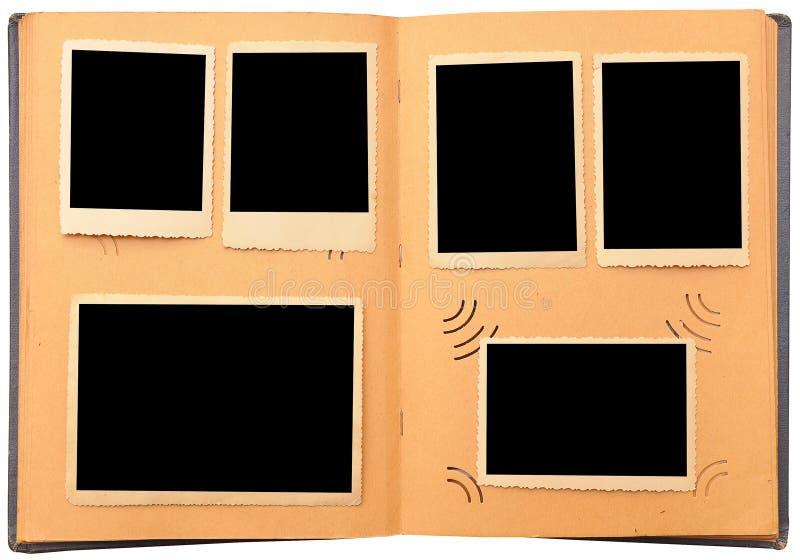 Album di foto dell'annata con le foto vuote immagine stock libera da diritti