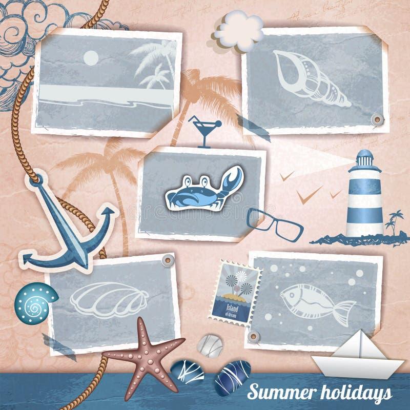 Album di foto scrapbooking di estate royalty illustrazione gratis