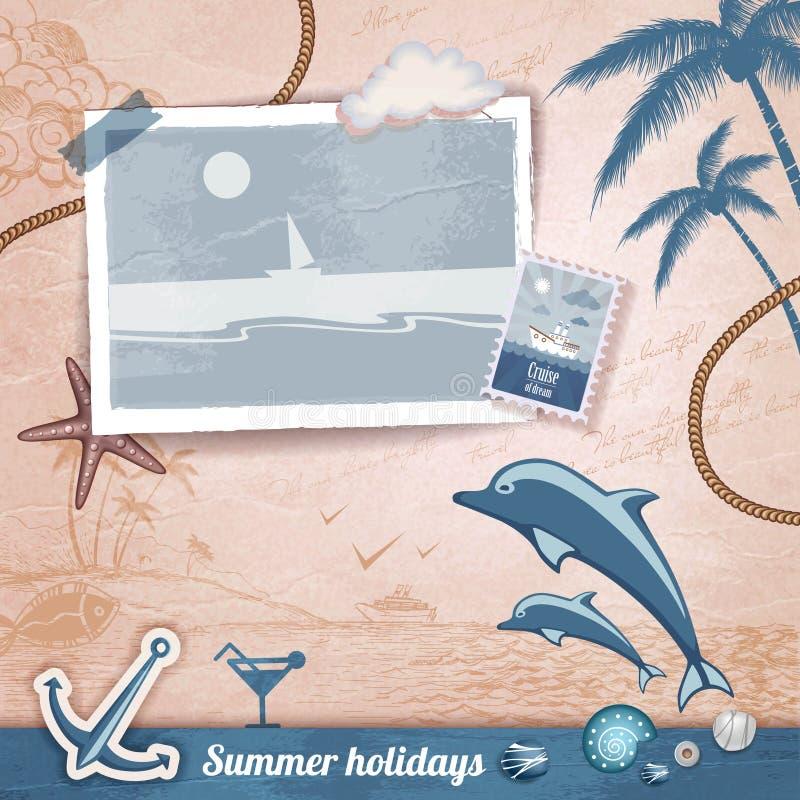 Album di foto scrapbooking di estate illustrazione vettoriale
