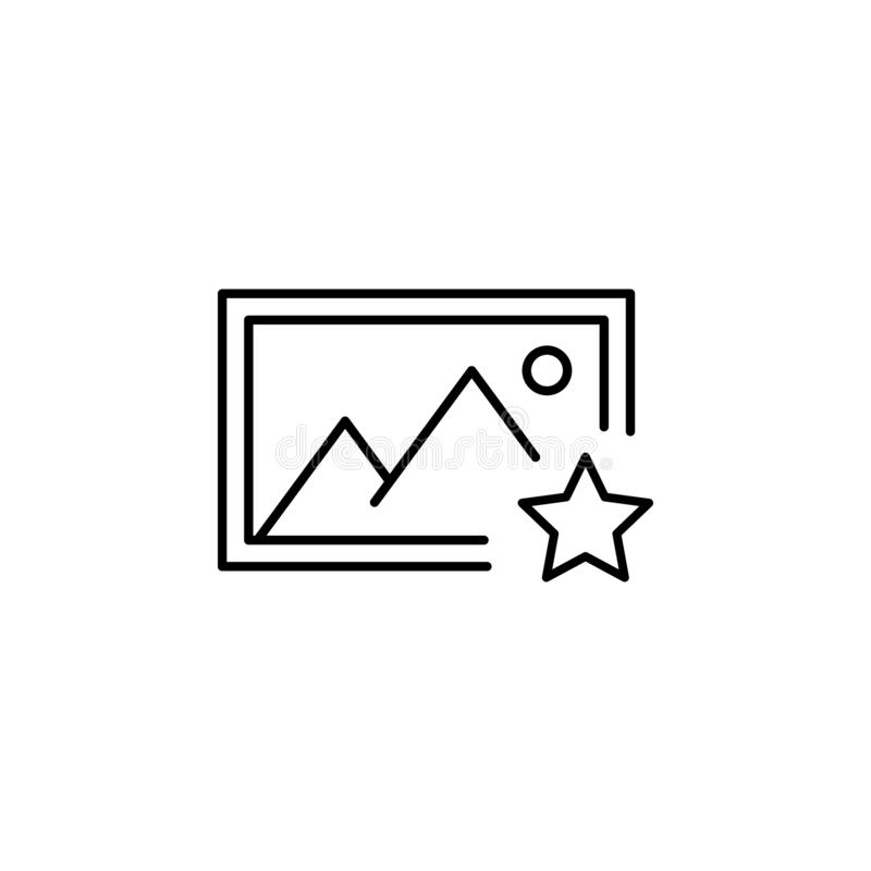 Album favorite picture outline icon. Signs and symbols can be used for web, logo, mobile app, UI, UX royalty free illustration