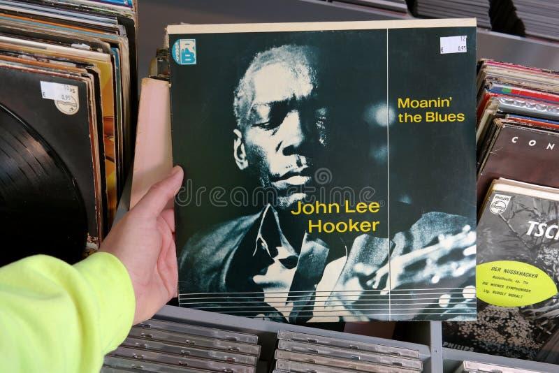 Album: John Lee Hooker- - Moanin-` das Blau lizenzfreies stockbild