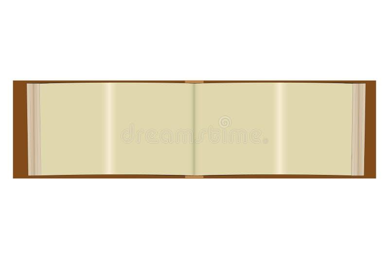 Albumu egzamin próbny z w górę krajobrazowej horyzontalnej orientacji Realistyczne papier strony, pokrywa z cieniami i Pusty s royalty ilustracja