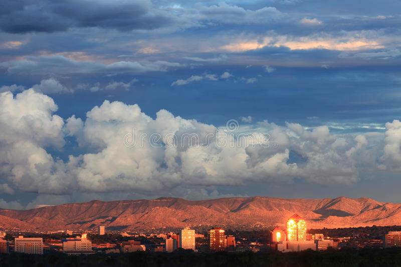 Albuquerque Downtown. City of Albuquerque, New Mexico at sunset with Sandia Mountains in the background. The hit series Breaking Bad is filmed in the city royalty free stock photography