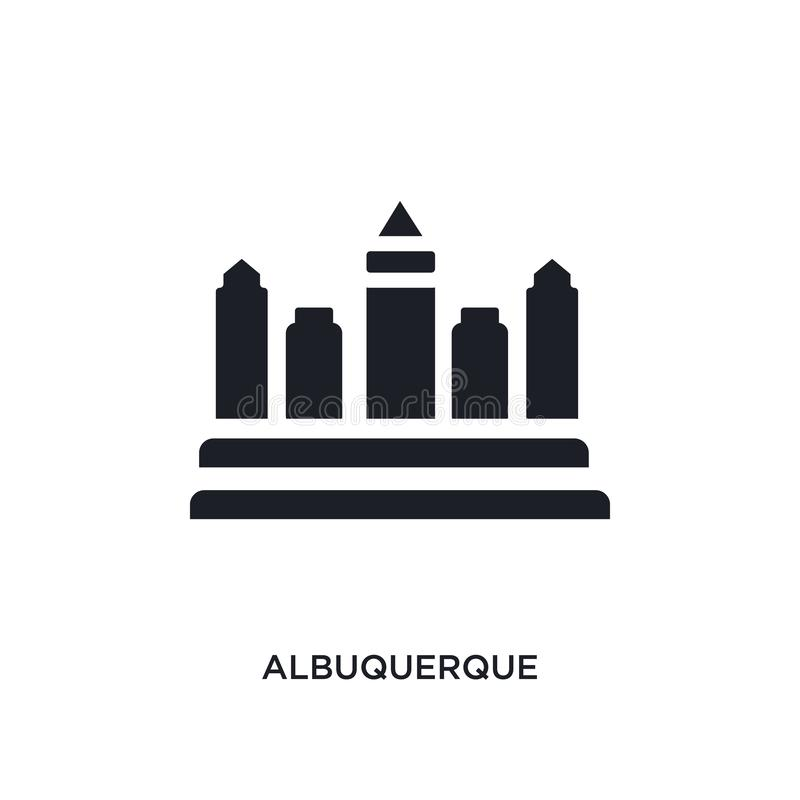 Albuquerque negra aisló el icono del vector ejemplo simple del elemento de iconos del vector del concepto de los Estados Unidos d stock de ilustración