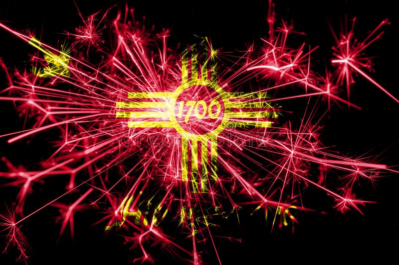 Albuquerque, New Mexico fireworks sparkling flag. New Year 2019 and Christmas party concept. stock photography