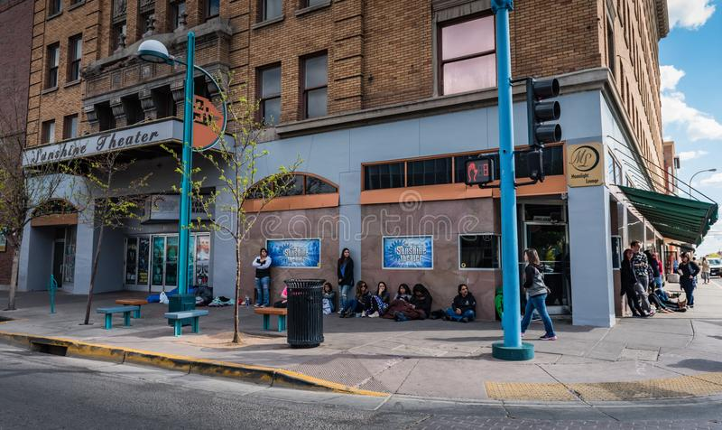 Lining up for concert tickets at Sunshine Theater. Albuquerque, New Mexico / USA / April 1, 2016: Young people lining up for show tickets at live-music venue in stock photos