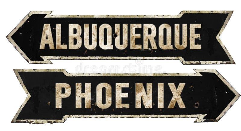 Albuquerque Phoenix Street Sign Grunge Arrow Metal Retro Vintage royalty free stock photography