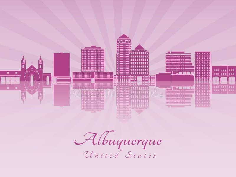 Albuquerque V2 skyline in purple radiant orchid stock illustration