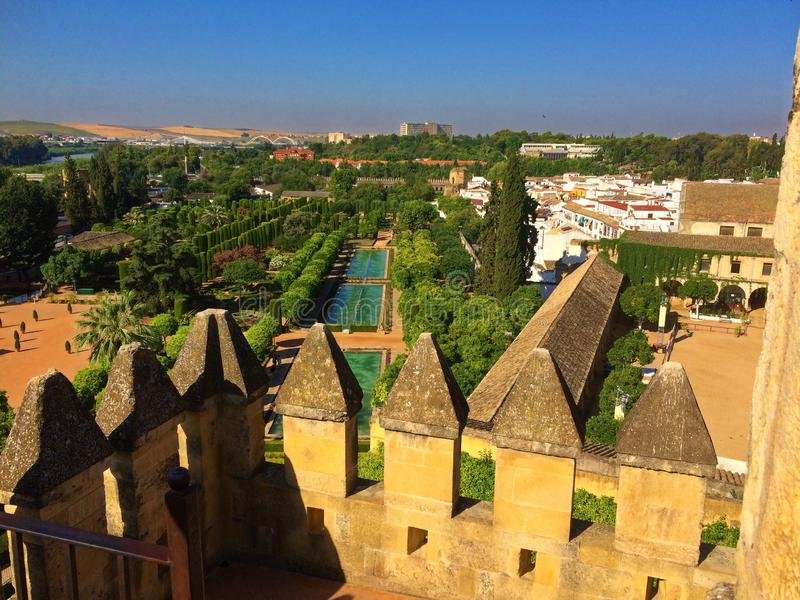Alcazar castle of Cordoba, Spain. The Alcázar de los Reyes Cristianos, also known as the Alcázar of Córdoba, is a medieval alcázar located in the royalty free stock image