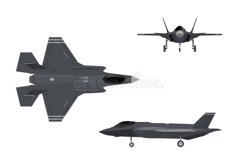 159 alca l Wizerunki myśliwiec Trzy widoku samolotowego ilustracja wektor